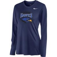 Hiteon 19: Nike Women's Legend Long-Sleeve Training Top - Navy Blue