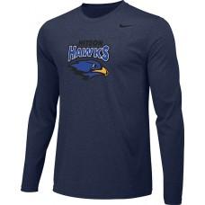 Hiteon 16: Adult-Size - Nike Team Legend Long-Sleeve Crew T-Shirt - Navy Blue